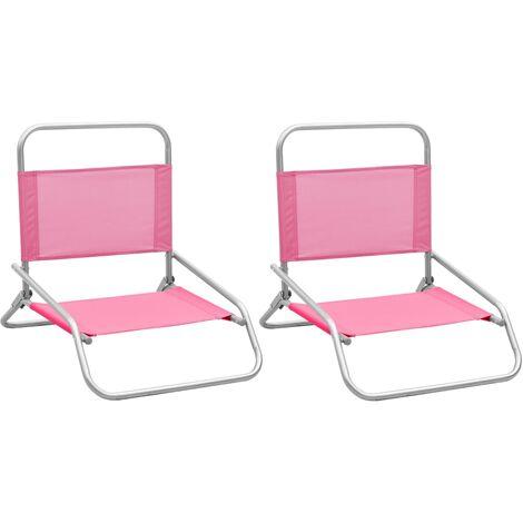 vidaXL Folding Beach Chairs 2 pcs Pink Fabric - Pink