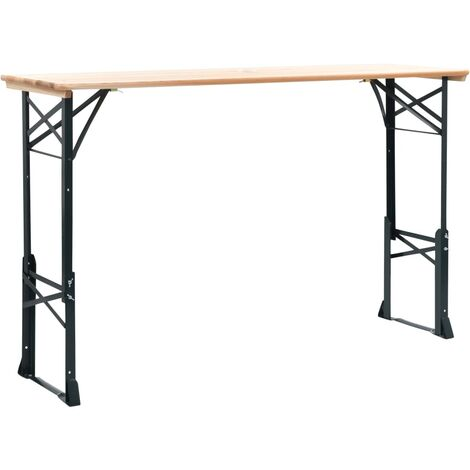 vidaXL Folding Beer Table 169x50x75/105 cm Pinewood - Brown