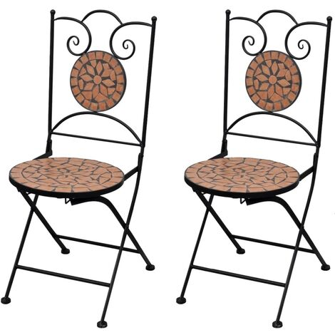vidaXL Folding Bistro Chairs 2 pcs Ceramic Outdoor Chairs Foldable Chairs Lounge Chairs Outdoor Garden Patio Furniture Seats Multi Colours