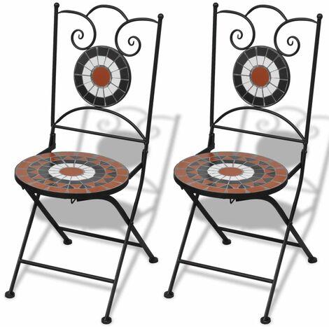 vidaXL Folding Bistro Chairs 2 pcs Ceramic Outdoor Chairs Foldable Chairs Lounge Chairs Outdoor Garden Patio Furniture Seats Multi Colours