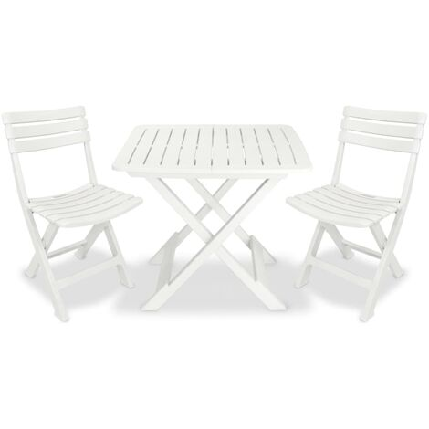 vidaXL Folding Bistro Set 3 Piece Foldable Table and Chairs Outdoor Garden Patio Balcony Dining Furniture Pub Bar Set Plastic White/Green
