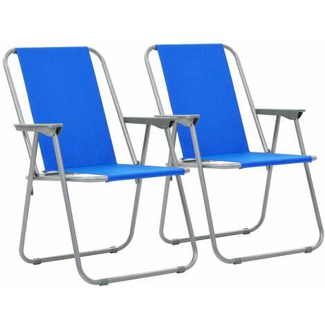 "main image of ""vidaXL Folding Camping Chairs 2 pcs 52x59x80cm Blue - Blue"""
