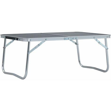 vidaXL Folding Camping Table Grey Aluminium 60x40 cm - Grey