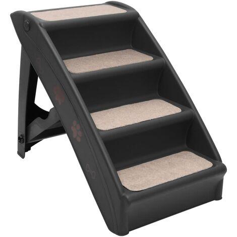 vidaXL Folding Dog Stairs Black 62x40x49.5 cm - Black