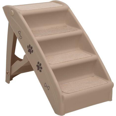 vidaXL Folding Dog Stairs Cream 62x40x49.5 cm - Cream