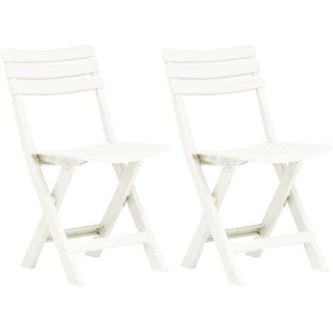 vidaXL Folding Garden Chairs 2 pcs Plastic White - White