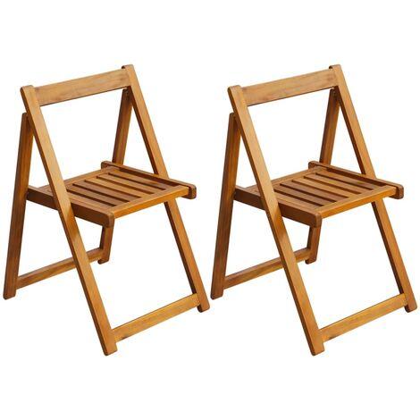 vidaXL Folding Garden Chairs 2 pcs Solid Acacia Wood - Brown