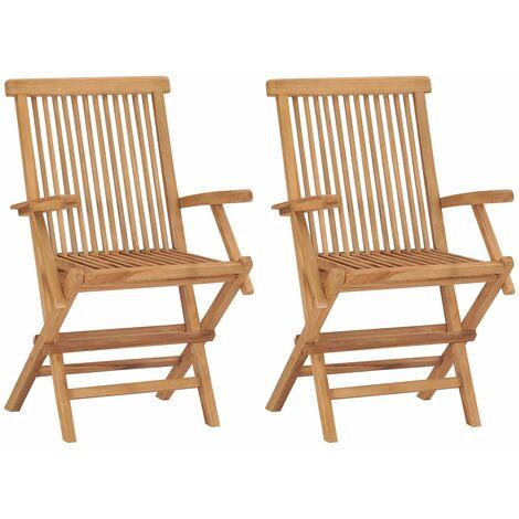 "main image of ""vidaXL Folding Garden Chairs 2 pcs Solid Teak Wood - Brown"""
