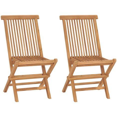 vidaXL Folding Garden Chairs 2 pcs Solid Teak Wood - Brown