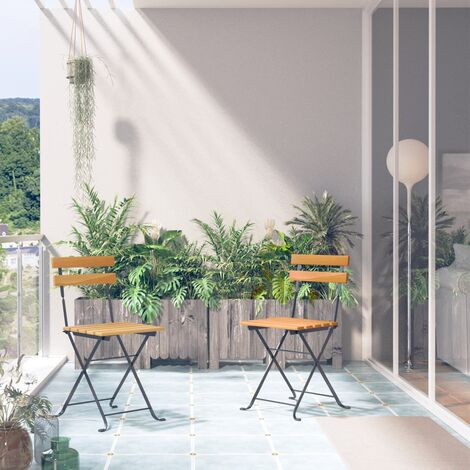 """main image of """"vidaXL Folding Garden Chairs 2 pcs Steel and Solid Acacia Wood - Brown"""""""