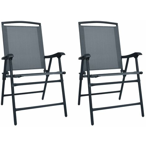 "main image of ""vidaXL Folding Garden Chairs 2 pcs Texilene Grey - Grey"""