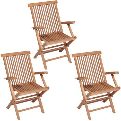 vidaXL Folding Garden Chairs 3 pcs Solid Teak Wood - Brown