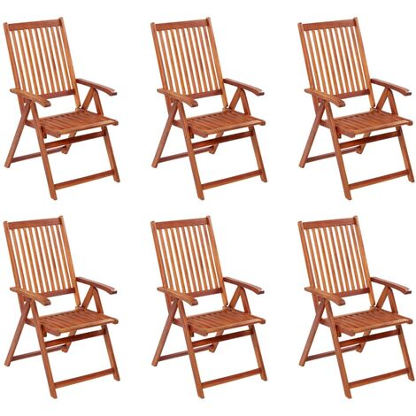 vidaXL Folding Garden Chairs 6 pcs Solid Acacia Wood - Brown