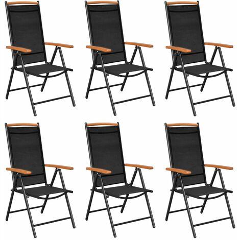 vidaXL Folding Garden Chairs 6 pcs Textilene Black - Black