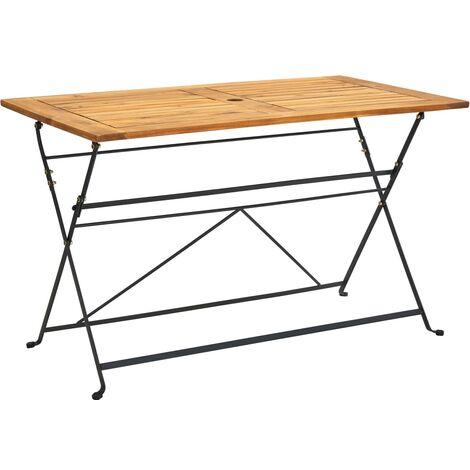 "main image of ""vidaXL Folding Garden Table 120x70x74 cm Solid Acacia Wood - Brown"""