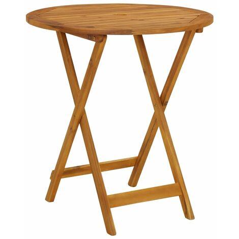 vidaXL Folding Garden Table 70 cm Solid Acacia Wood - Brown