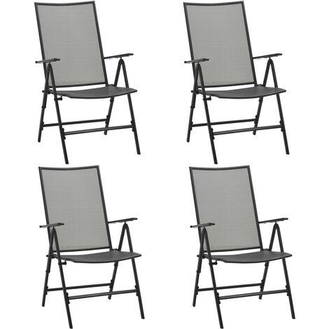 vidaXL Folding Mesh Chairs 4 pcs Steel Anthracite - Anthracite