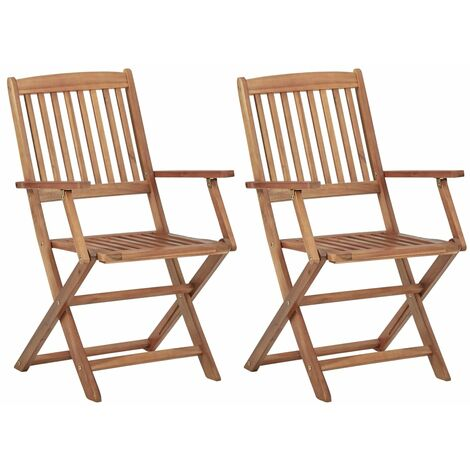 "main image of ""vidaXL Folding Outdoor Chairs 2 pcs Solid Acacia Wood - Brown"""