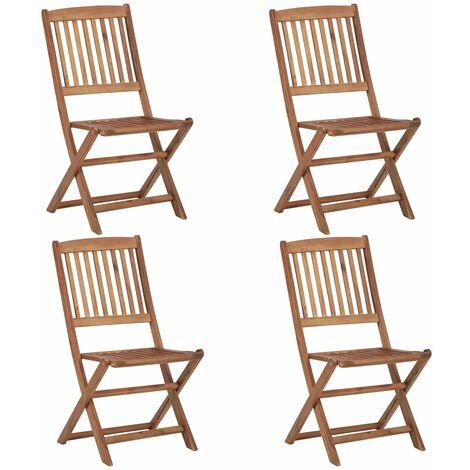 "main image of ""vidaXL Folding Outdoor Chairs 4 pcs Solid Acacia Wood - Brown"""