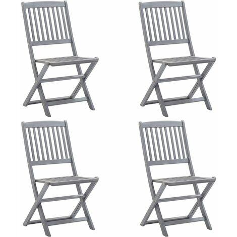 "main image of ""vidaXL Folding Outdoor Chairs Solid Acacia Wood 2 pcs - Grey"""
