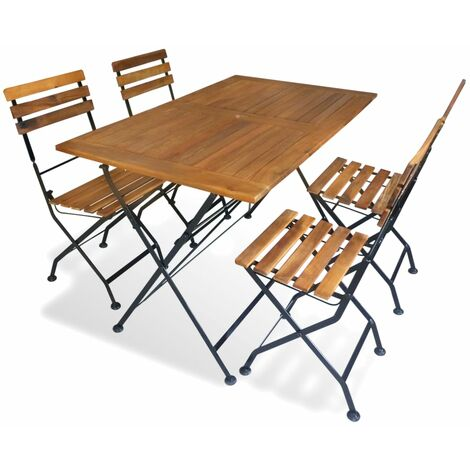 vidaXL Folding Outdoor Dining Set Solid Acacia Wood Home Kitchen Furniture Decor Garden Patio Foldable Table Chairs Side Chairs 5/7 Piece