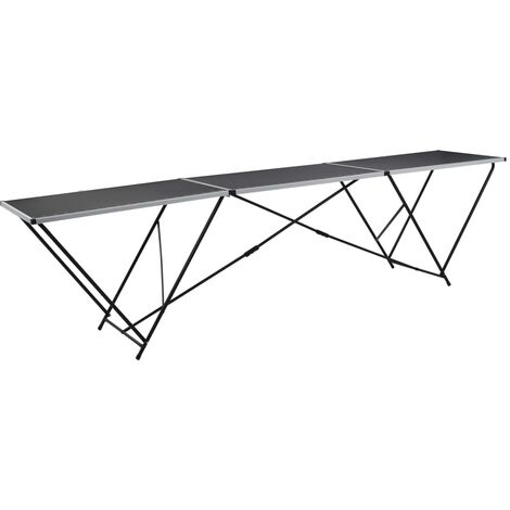 "main image of ""vidaXL Folding Pasting Table MDF and Aluminium 300x60x78 cm - Black"""