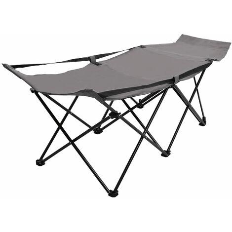 vidaXL Folding Sun Lounger Grey Steel - Grey