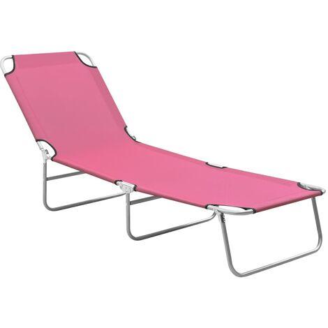 vidaXL Folding Sun Lounger Steel and Fabric Pink - Pink