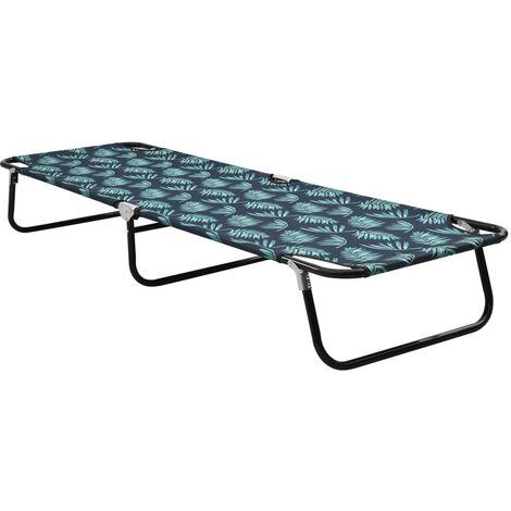 vidaXL Folding Sun Lounger Steel Leaf Pattern - Multicolour