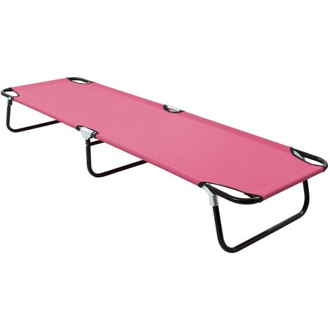 vidaXL Folding Sun Lounger Steel Pink - Pink