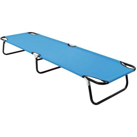 vidaXL Folding Sun Lounger Steel Turquoise Blue - Blue