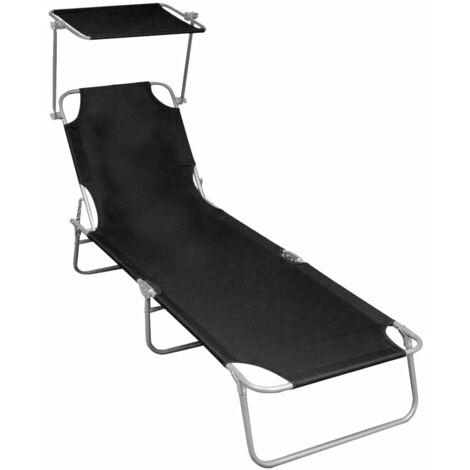 vidaXL Folding Sun Lounger with Canopy Black Aluminium - Black