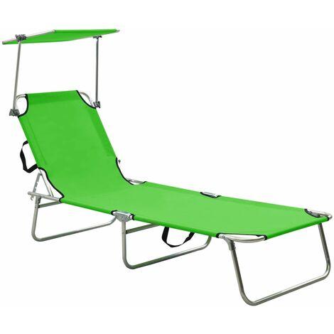 vidaXL Folding Sun Lounger with Canopy Green Aluminium - Green