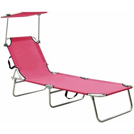 vidaXL Folding Sun Lounger with Canopy Pink Aluminium - Pink