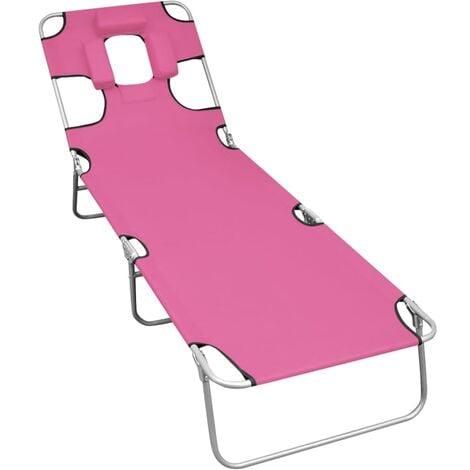 vidaXL Folding Sun Lounger with Head Cushion Steel Magento Pink - Pink
