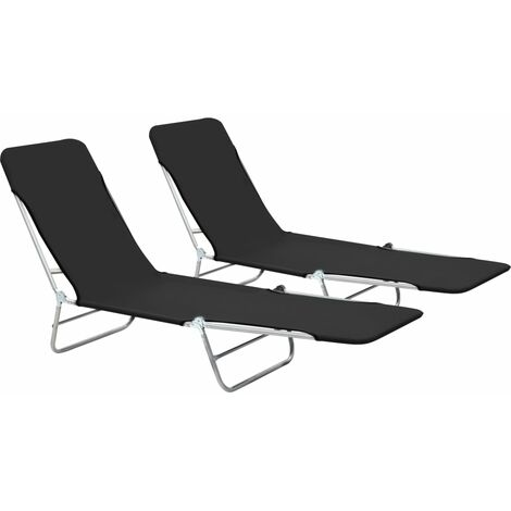 "main image of ""vidaXL Folding Sun Loungers 2 pcs Steel and Fabric Grey - Grey"""
