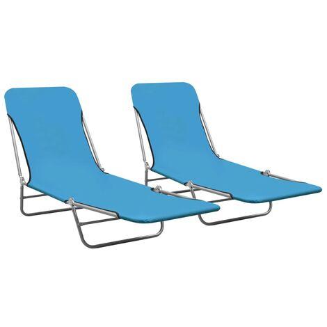 vidaXL Folding Sun Loungers 2 pcs Steel and Fabric Blue - Blue