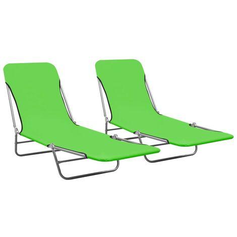 vidaXL Folding Sun Loungers 2 pcs Steel and Fabric Green - Green