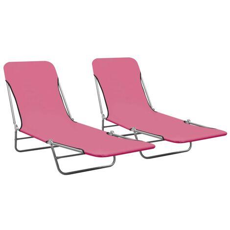 vidaXL Folding Sun Loungers 2 pcs Steel and Fabric Pink - Pink