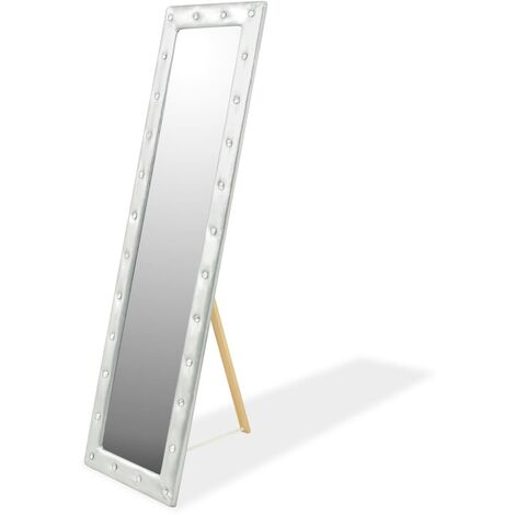 vidaXL Freestanding Mirror Artificial Leather 30/45 x150cm Glossy White/Silver