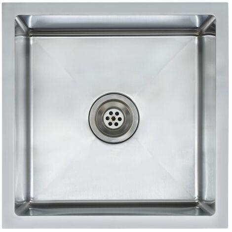 """main image of """"vidaXL Fregadero de cocina hecho a mano con colador acero inoxidable - Plateado"""""""