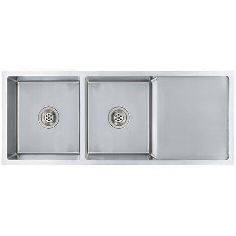 vidaXL Fregadero de cocina hecho a mano con colador acero inoxidable - Plateado