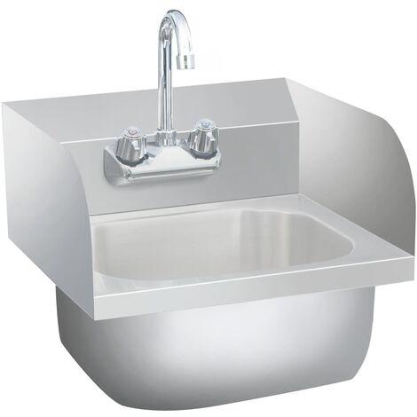 vidaXL Fregadero lavamanos comercial con grifo de acero inoxidable - Plateado
