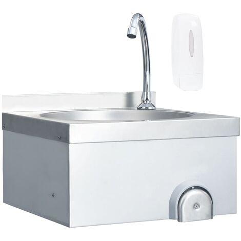 vidaXL Fregadero lavamanos con grifo y dispensador de jabón acero inox - Plateado