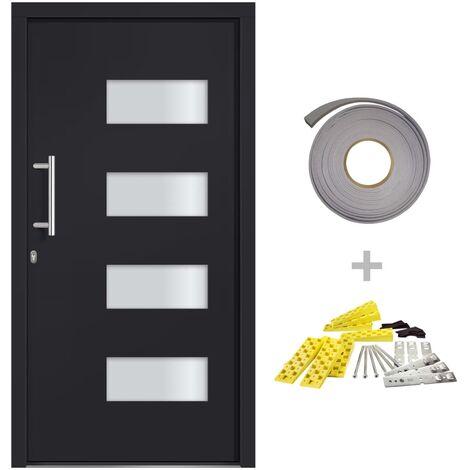 vidaXL Front Door Aluminium and PVC Anthracite 100x200 cm - Anthracite