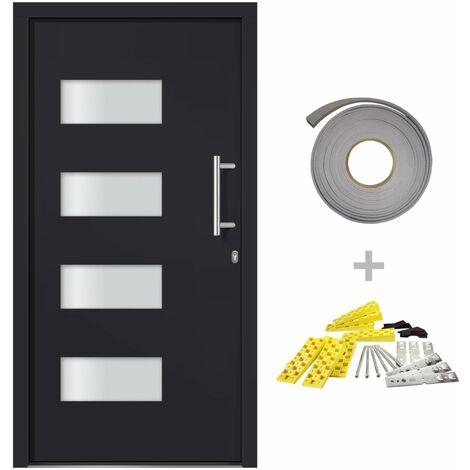 vidaXL Front Door Aluminium and PVC Anthracite 100x210 cm - Anthracite