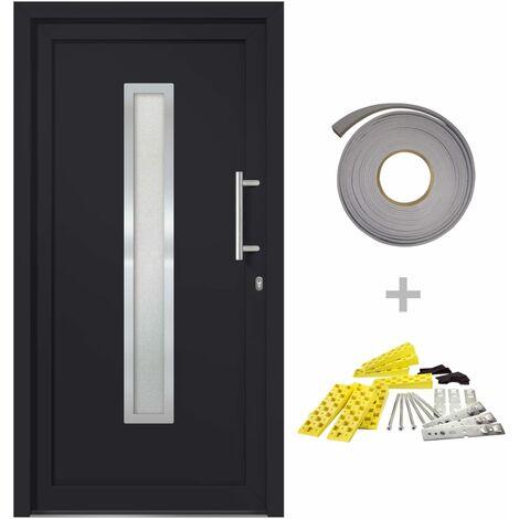 """main image of """"vidaXL Front Door Anthracite 88x200 cm - Grey"""""""
