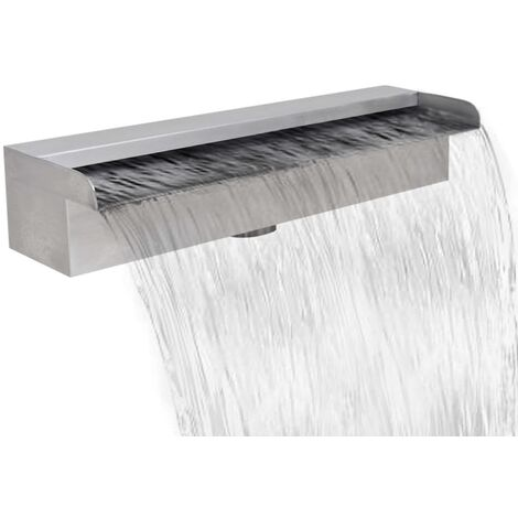 "main image of ""vidaXL Fuente cascada rectangular piscina acero inoxidable 30 cm - Plateado"""