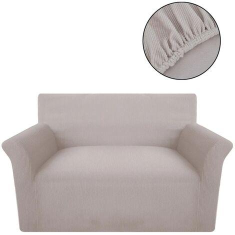 vidaXL funda elástica para sofá de tela acanalada color beige - Beige