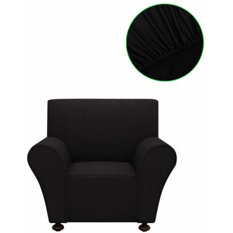 vidaXL funda elástica para sofá de tela jersey poliéster color negro - Negro